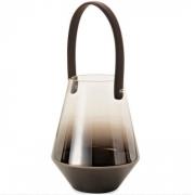 Lanterna Decorativa em Vidro Black Níquel com Alça 27cm 09413 Mart