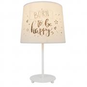 Luminária de Mesa Abajur Andria Branco Cúpula Born To Be Happy 1E27 34cm