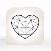 Luminária de Mesa Abajur Box Coração Geometrico 1E27 22,5x9cm Decor Fun