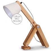 Luminaria de Mesa Abajur Madeira Natural Articulavel Design Sem Cúpula 1E27 47CM 101906