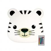 Luminária de Mesa Abajur Tigre Led RGB com Controle Remoto 26x27cm Decor Fun