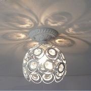 Luminária Plafon Aramado Redondo Branco com Cristais 1E27 22cm