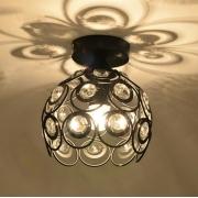 Luminária Plafon Aramado Redondo Preto com Cristais 1E27 22cm