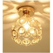 Luminária Plafon Aramado Redondo Dourado com Cristais 1E27 22cm