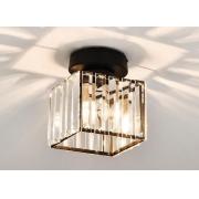 Luminária Plafon Quadrado Preto com Cristal 1E27 19cm