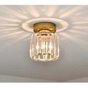 Luminária Plafon Redondo Dourado com Cristal 1E27 19cm