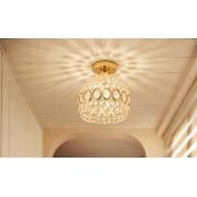 Luminária Plafon Redondo Dourado com Cristal 1E27 22cm