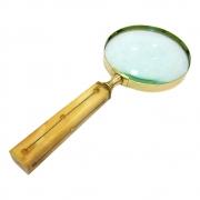 Lupa de Aumento Decorativa Metal Dourado e Cabo Bege 23cm MEI0053 BTC