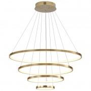 Lustre Pendente 4 Aneis Dourado LED 130W
