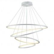 Lustre Pendente 4 Aneis Rings Branco LED 132W 3500K