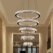 Lustre Pendente 5 Anéis Cristal LED 168W 3000K a 6000K Bivolt