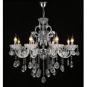 Lustre Pendente Candelabro Cristal  Transparente 12E14 95X70CM