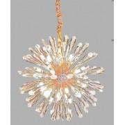 Lustre Pendente Flor do Sol Dourado Cristal 50CM 9 Lâmpadas