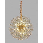Lustre Pendente Flor do Sol Dourado Cristal 50CM 9G9 DS9751 Delis