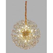 Lustre Pendente Flor do Sol Dourado Cristal 60CM 18 Lâmpadas