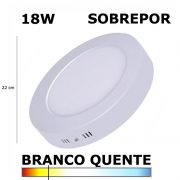 PAINEL PLAFON LED 18W 22CM SOBREPOR REDONDO 3000K