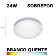 Painel Plafon Led 24W 30CM Sobrepor Redondo 3000K DL093WW Bella