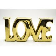 Palavra Love Decorativa em Cerâmica Dourado 18cm 4534 Lyor
