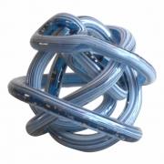 Peça Decorativa Vidro Azul com Detalhes Dourado 10cm DM1016 BTC