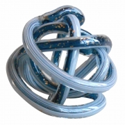 Peça Decorativa Vidro Azul com Detalhes Dourado 13cm DM1017 BTC