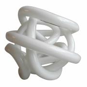 Peça Decorativa Vidro Branco 13cm DM1015 BTC