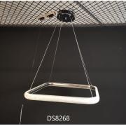 Pendente 1 Módulo Lygus Quadrado Cristal Prata LED 48W 3000K Bivolt DS8268 Delis