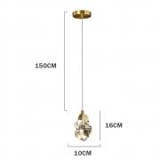 Pendente Lapidado Cristal Transparente Metal Dourado LED 5W 3200K Bivolt