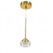 Pendente Metal Dourado Acrílico Transparente 7cm LED 7W 3200K a 6500K Bivolt