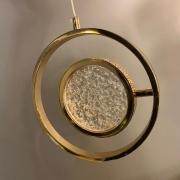 Pendente Redondo Regulável Metal Dourado e Vidro LED 8W Bivolt