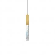 Pendente Tubo Cristal de Rocha Dourado 33cm LED 5W 3200K Bivolt
