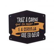 Placa de Aço Decorativa Modelo Cerveja Gelo 25x23CM
