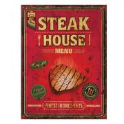 Placa Decorativa Steak House Menu 30x40cm -