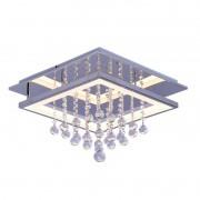 Plafon Cristal Cromado Sobrepor LED 18W 3000K 45x45cm QPL1336G
