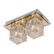 Plafon Frost Dourado 2G9 21,5x12,5cm Bronzearte