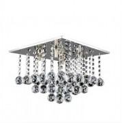 Plafon Sobrepor Cristal Quadrado 35x35cm 6 Lâmpadas G9