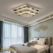 Plafon Sobrepor Quadrado Espelhado com Cristais 48cm LED 80W com Controle Remoto