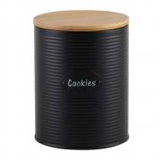 Porta Cookies Preto com Tampa de Madeira 18,5cm UC0007 BTC