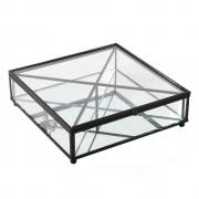 Porta Joias Vidro Transparente e Metal Preto 20x6cm KV0240 BTC