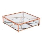 Porta Objetos Vidro Transparente e Metal Cobre 20x6cm KV0160 BTC