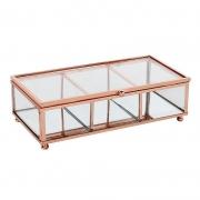 Porta Objetos Vidro Transparente e Metal Cobre 20x6cm KV0164 BTC