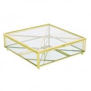 Porta Objetos Vidro Transparente e Metal Dourado 20x6cm KV0159 BTC