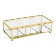 Porta Objetos Vidro Transparente e Metal Dourado 20x6cm KV0163 BTC