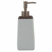 Porta Sabonete Liquido Branco Detalhe Estilo Madeira em Resina 19,5cm PO0135 BTC