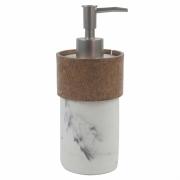 Porta Sabonete Liquido Branco Marmorizado Detalhe Estilo Madeira em Resina 19,5cm PO0131 BTC