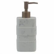Porta Sabonete Liquido Branco Marmorizado em Resina 19cm PO0129 BTC