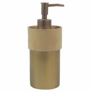 Porta Sabonete Liquido Dourado Detalhe Estilo Madeira em Resina 19,5cm PO0130 BTC