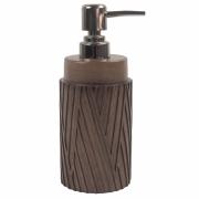 Porta Sabonete Liquido Marrom Estilo Madeira em Resina 19,5cm PO0126 BTC