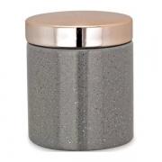 Pote de Cerâmica Cinza com Tampa Rosa 10cm 09073 Mart