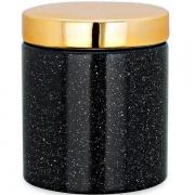 Pote de Cerâmica Preto com Tampa Dourada 10cm 09075 Mart