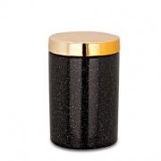 Pote de Cerâmica Preto com Tampa Dourada 12cm 09076 Mart